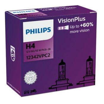 H4 žiarovky Vision Plus +60% sada 2ks Philips
